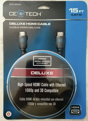 CE Tech 15 ft. Deluxe HDMI Cable with Ethernet 0000-149-520 for Sale in St. Petersburg, FL