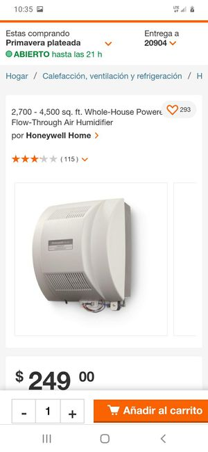2,700 - 4,500 sq. ft. Whole-House Powered Flow-Through Air Humidifier for Sale in Hyattsville, MD