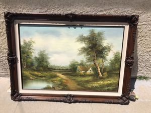 "Country side cottage river green trees painting 43""x31"" gorgeous heavy wood frame for Sale in Alhambra, CA"