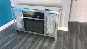 Luxury mirrored fireplace tv stand with crystal 3 for Sale in Boca Raton, FL