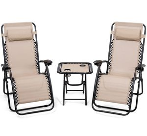 3 Pc Patio Outdoor Furniture Set Recliner Folding Lounge Chairs and Table. for Sale in New York, NY