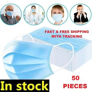 50 Pcs Disposable 3 PLY face Covering Mask Ear-loop Sealed Pack for Sale in Los Angeles, CA