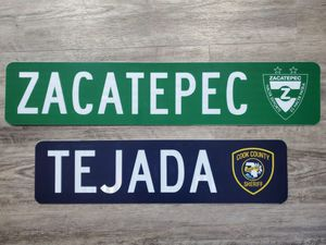 Custom authentic street sign,tejada,cook count sheriff ,zacatepec,Mexico,sports,cpd,cfd,memorabilia,man cave, garage, bar, kitchen, toys, tools, elec for Sale in Cicero, IL