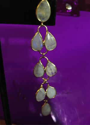 White Moonstone Earrings in vermeil Yellow Gold over Sterling Silver for Sale in Tampa, FL