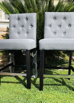 ⭐️New Fine Furniture Tufted Dark Gray Counter Chair Set(2)LOOK @ All Pics. P/U By ASHLAN AND TEMPERANCE IN CLOVIS for Sale in Clovis,  CA