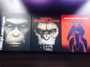 Rise, Dawn & War for the Planet of the Apes Blu Ray Steelbook for Sale in Fontana, CA