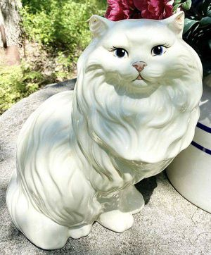 Vintage Mid Century Modern MCM Large 14 Inch Ceramic Blue Eyes White Persian Cat Kitty Statue Figurine for Sale in Chapel Hill, NC