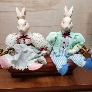 """Vintage Pair of 1990's 12"""" Mr and Mrs Easter Springs Rabbit Ceramic Doll for Sale in Julian, NC"""
