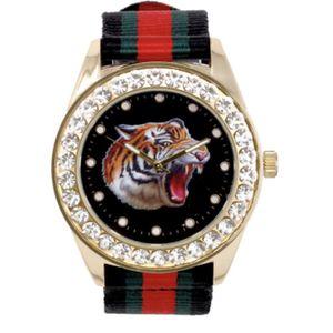 Gold Bling Iced Watch Rapper Simulate Lab Diamond Nylon Band Tiger Luxury Men for Sale in Lorton, VA