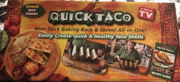 Quick Taco Baking Rack, Server, Recipe Book Assen on TV New in Box