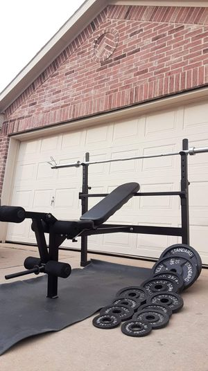 Parabody bench press weights and bar for Sale in Saginaw, TX