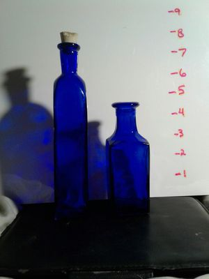 2 SQUARE Antique Late 1800's Cobalt Blue (1 has)Cork Top Glass Medicine Bottles for Sale in Folsom, CA