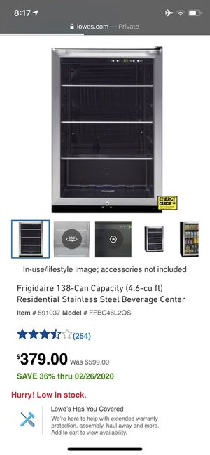 Frigidaire 138-Can Capacity (4.6-cu ft) Stainless Steel Beverage Center, new for Sale in Lexington, KY