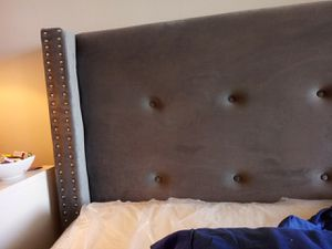 New grey head board with silver studs 200.00 for Sale in St. Louis, MO