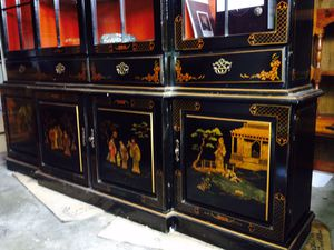 Beautiful hand painted china cabinet with beautiful Japanese prints. Amazing detail and signed by the artist. This piece cost $25,000 - circa 1980. A for Sale in Las Vegas, NV