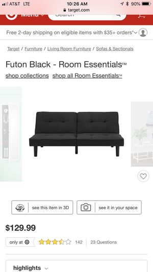Black futon only used a couple months smoke free home for Sale in Morgantown, WV