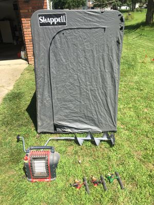 Ice Fishing Shanty, Auger, Heater, and Rods for Sale in North Royalton, OH