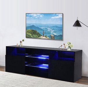 Black LED TV Stand Unit 2 Doors 2 Shelves Cabinet Console Furniture ( Free Shipping Only ) for Sale in Arlington, TX