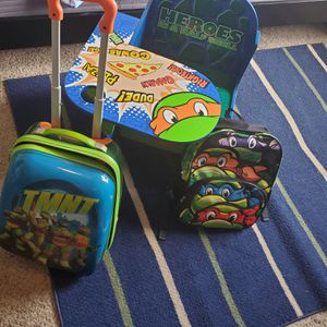 OBO ,Ninja Turtles desk, backpack and suitcase. for Sale in Kalamazoo, MI