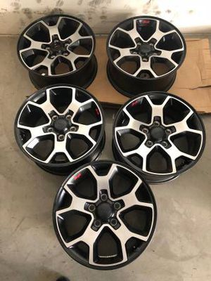 Brand new)) Jeep rubicon factory 17 inch wheels set of 5 $425 No scratches no curb rash for Sale in Modesto, CA