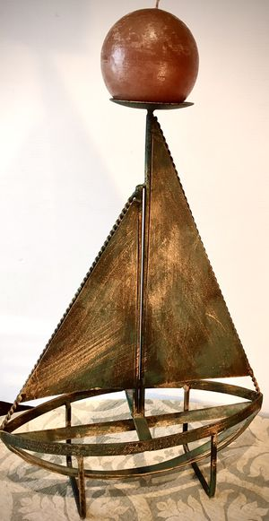 Beautiful decorative metal art candle holder Sailing Boat H19xL14xW5 inch for Sale in Sun Lakes, AZ
