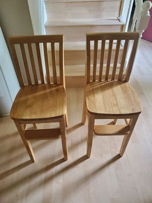 Two Solid Wood Youth High Chairs 22in from Seat to Floor for Sale in Virginia Beach, VA