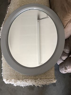 Grey painted oval mirror for Sale in Mission Viejo, CA