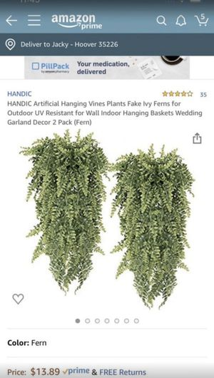 HANDIC Artificial Hanging Vines Plants Fake Ivy Ferns for Outdoor UV Resistant for Wall Indoor Hanging Baskets Wedding Garland Decor 2 Pack (Fern) for Sale in Hoover, AL
