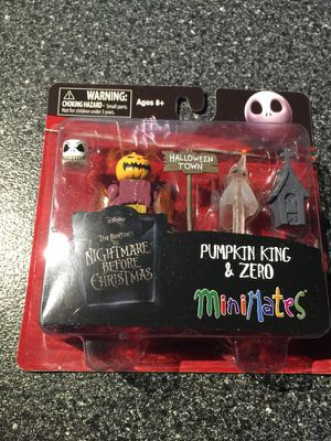 Pumpkin King and Zero Nightmare Before Christmas MiniMates 2 inch Minifigure 2 Pack art asylum for Sale in Queens, NY