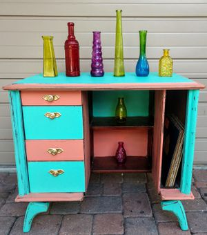Beachy Chic Hipster Upcycled MCM Tube Television Desk or Vanity or Record Player Cabinet for Sale in St. Petersburg, FL