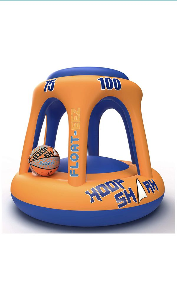 Inflatable basketball hoop for the pool