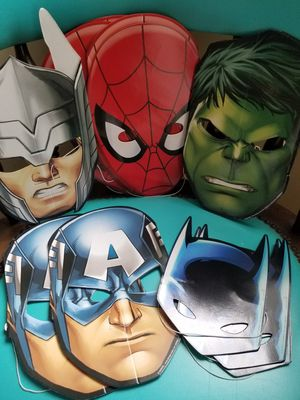 Marvel / DC Birthday Party Costume Dress Up Masks , Spiderman, Hulk, Batman, etc for Sale in Greenville, SC