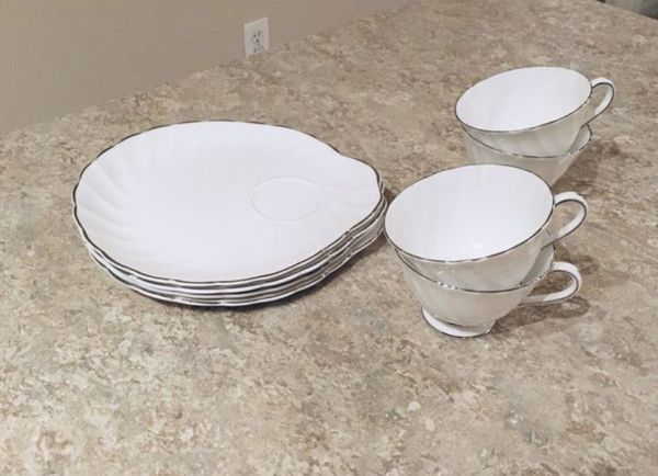 White Tea Cups & Snack Plates