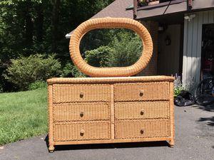 Wicker chest of drawers & mirror for Sale in Lorton, VA