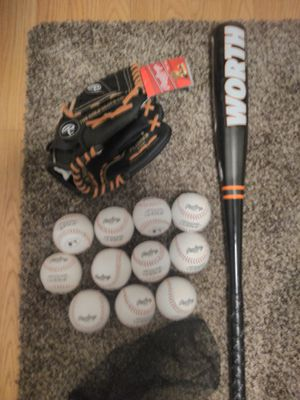 Brand new Rawlings baseball glove 11 Rawlings baseball official league brand new worth baseball bat aluminum for Sale in Aurora, CO
