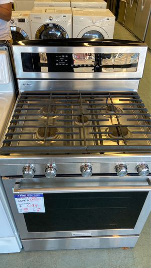 Kitchenaid gas range oven stove stainless steel like new for Sale in Littleton, CO