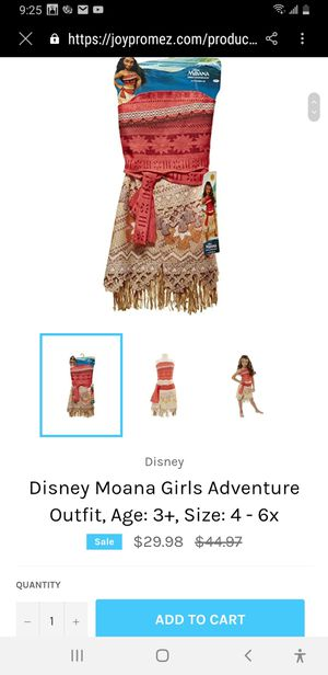 Disney Moana Girls Adventure Outfit Costume, Size 4-6X With Disney Princess Moana Magical Seashell Necklace New for Sale in Louisville, KY