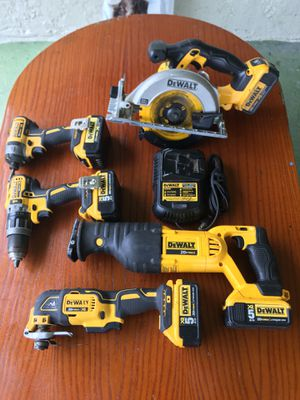 Dewalt combo drills ( 1 impact , 1 Hammer Drill, 1 Circular Saw, 1 Sawzall, 1 Oscillating Multi-Tool + 5 batteries + Charger ) for Sale in Parkland, FL