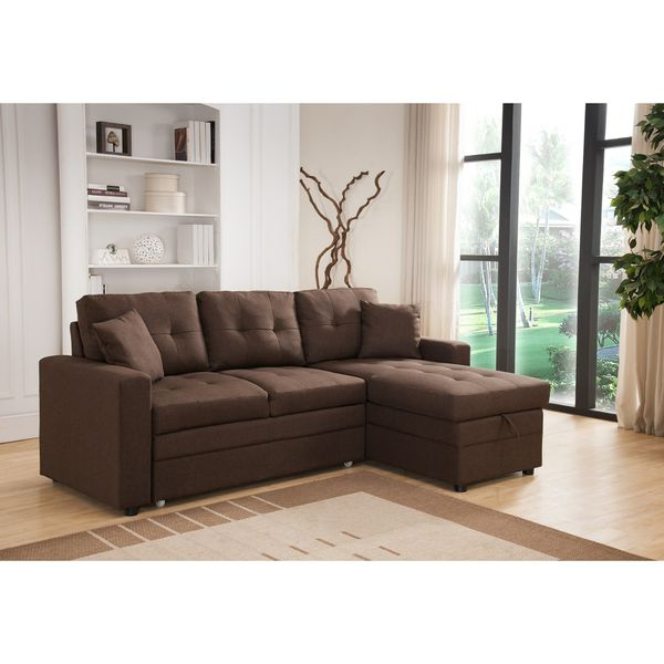 Pull Out Brown Linen Sectional Sofa Bed With Reversible Chaise and Storage