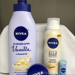NIVEA LOTION FOAMING SILK MOUSSE CREAM LIP BALM BUNDLE for Sale in Los Angeles, CA