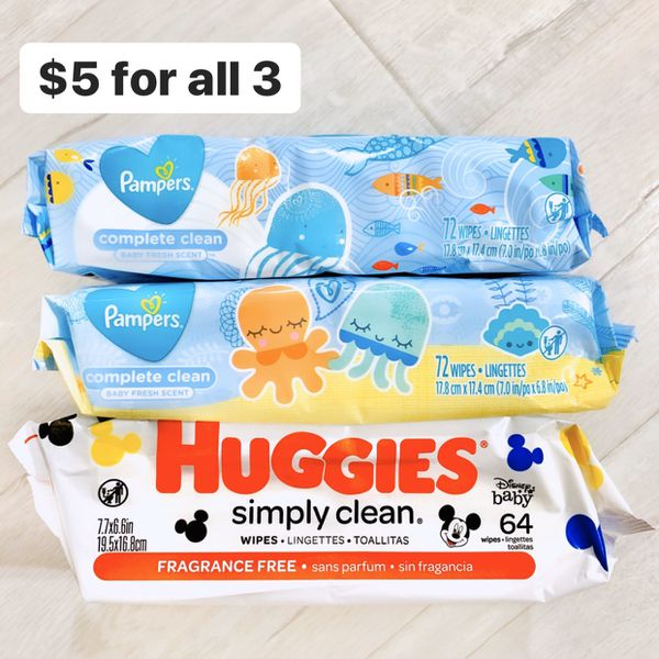 2 Packs Pampers Complete Clean Baby Fresh Scented Wipes + 1 Huggies Simply Clean Fragrance Free Wipes (208 wipes total) - $5 for all 3