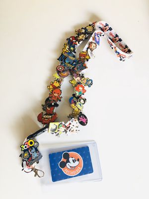 Lanyard with clear sleeve only! holder pin pass holder ID holder work lanyard DISNEY DISNEYLAND MICKEY MOUSE DOUBLE SIDED for Sale in San Bernardino, CA