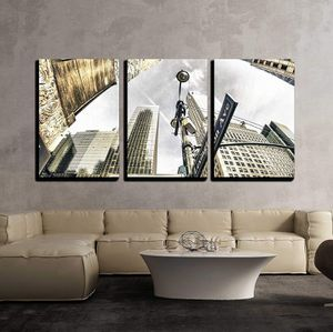 """3 Piece Canvas Wall Art - Bottom-Up View of New York Skyscrapers, U S a - Modern Home Decor Stretched and Framed Ready to Hang - 24""""x36""""x3 Panels for Sale in La Mirada, CA"""
