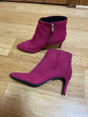 NEW pink suede heeled booties for Sale in Wichita, KS