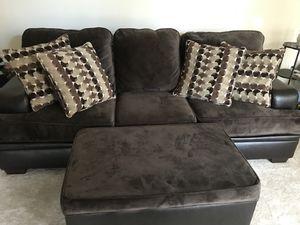 Brown Leather/Micro Fiber Couch W/ Ottoman for Sale in Ashburn, VA