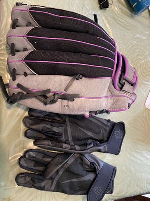 Softball fast pitch glove/ batting gloves for Sale in Rutherford, NJ