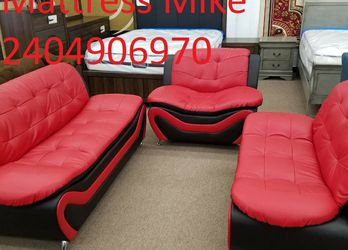 New Box 3pc Red Black Faux Leather Sofa Loveseat And Chair for Sale in University Park,  MD