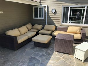 4-piece Wicker sectional outdoor/patio couch + leg rest & ottoman + cushions and cushion covers for Sale in Santa Monica, CA