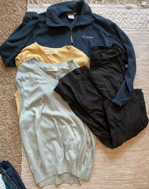 Men's athletic clothing bundle size large - Columbia fleece jacket, Columbia cargo pants, 2 Vests for Sale in Kyle, TX