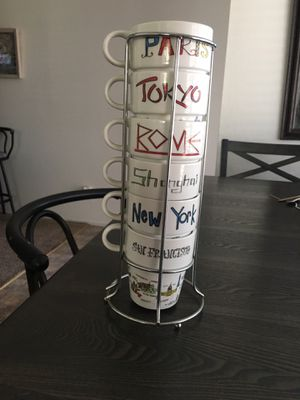 World Market coffee mugs with storage rack for Sale in Visalia, CA